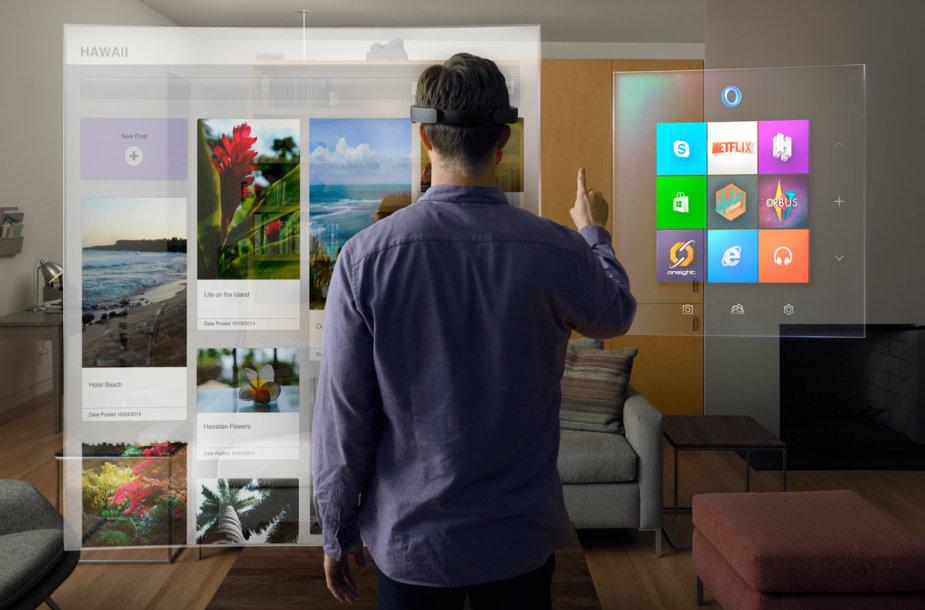 """""""Microsoft"""" pristatė ne tik naujos kartos """"Windows 10"""" sistemą, bet ir holograminį kompiuterį."""