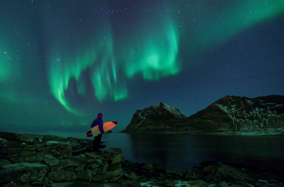 Šiaurės pašvaistė Lofoteno salose Norvegijoje