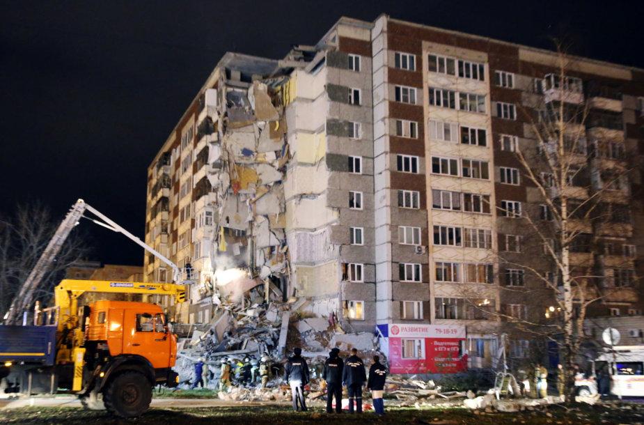 Rusijos Iževsko mieste sugriuvo dalis devynaukščio namo