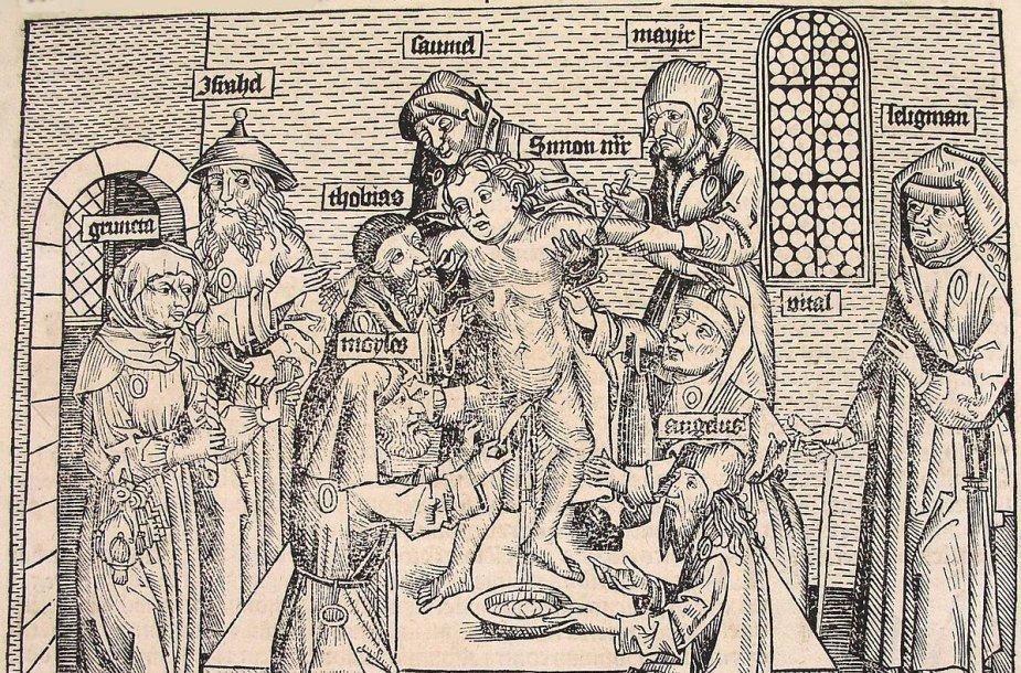 Krikščionių vaiko ritualinė žmogžudystė, 1493. Autorius Hartmann Schedel (1440-1514). Nuremberg Chronical (Schedel'sche Weltchronik), puslapis CCLIIIIv. Šaltinis Beloit College CC BY