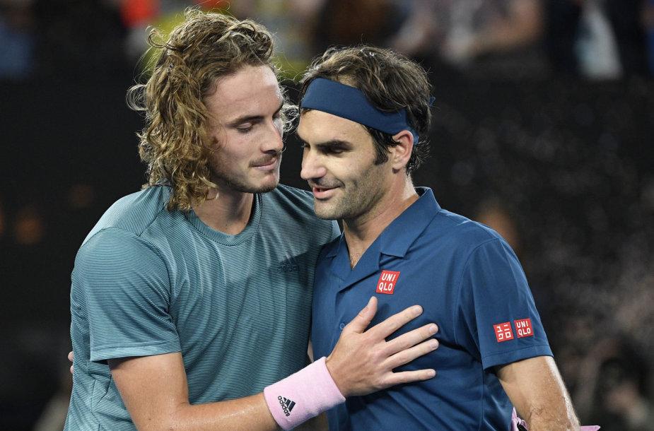 Stefanos Tsitsipas ir Rogeris Federeris