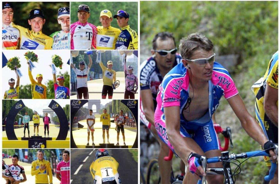 Nuotraukų rinkinyje kairėje L.Armstrongas su kitais dviratininkais, tarp jų ir R.Rumšu (nuotrauka dešinėje). Iš visų prizininkų tik vienas (Fernando Escartinas) neįkliuvo dėl dopingo.