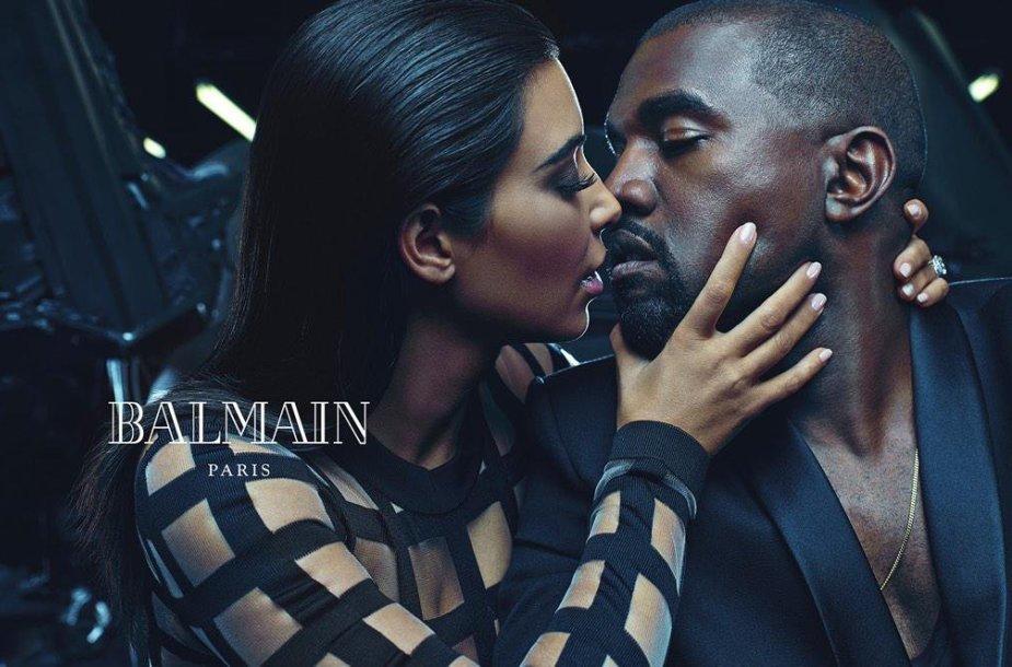 "Kim Kardashian ir Kanye Westas ""Balmain"" reklamoje"
