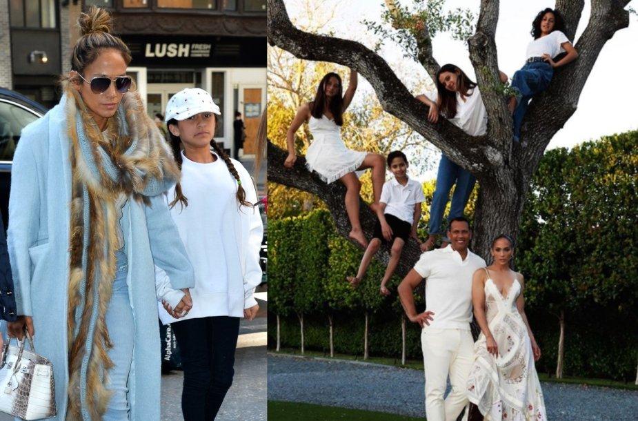 Jennifer Lopez ir Alexas Rodriguezas su savo vaikais