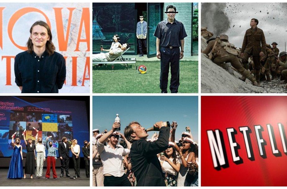 """Karolis Kaupinis, kadrai iš filmų, Kanų kino festivalio ceremonija, """"Netflix"""" logotipas"""