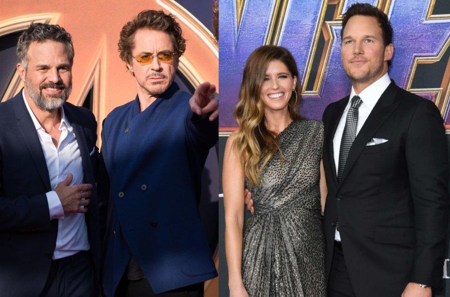Markas Ruffalo, Robertas Downey jaunesnysis, Katherine Schwarzenegger ir Chrisas Prattas