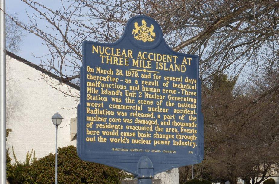 Atminimo lenta Pensilvanijoje netoli Trijų Mylių salos