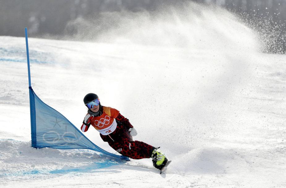 Daniela Ulbing olimpinių žaidynių snieglenčių varžybose.