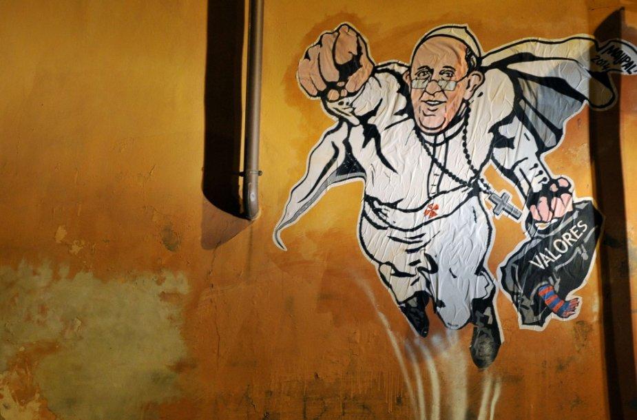 Romos grafitininkas pavaizdavo popiežių Pranciškų kaip supermeną