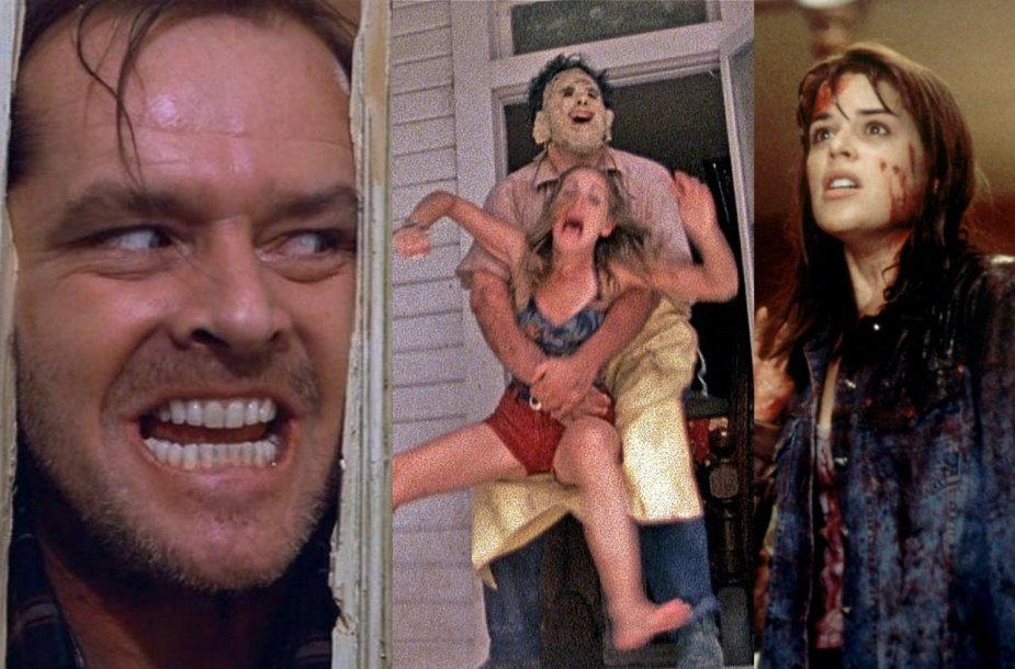 """Kadrai iš filmų """"Švytėjimas"""", """"Kruvinos skerdynės Teksase"""" ir """"Klyksmas"""""""