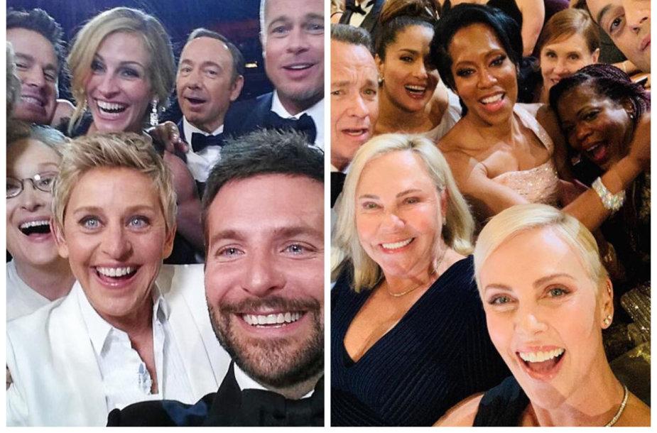 "Ellen DeGeneres ir Charlize Theron asmenukės ""Oskaruose"""
