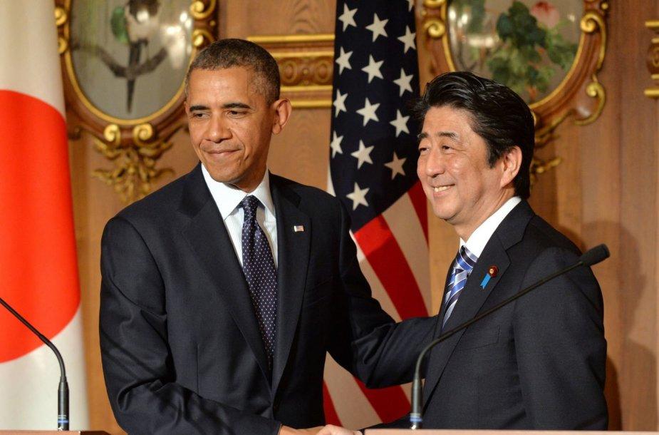 JAV prezidentas Barackas Obama ir Japonijos ministras pirmininkas Shizo Abe