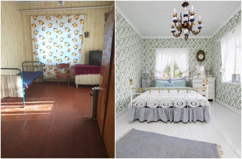 Daivos kurtas interjeras: namo kambarys prieš ir po
