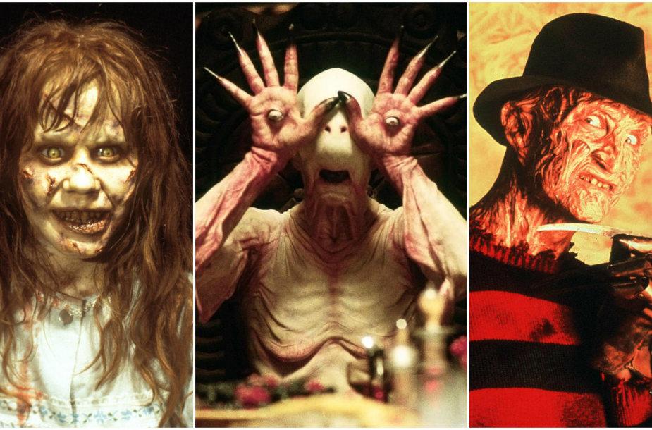 """Siaubo filmų """"Egzorcistas"""", """"Pano labirintas"""" ir """"Košmaras Guobų gatvėje"""" herojai"""
