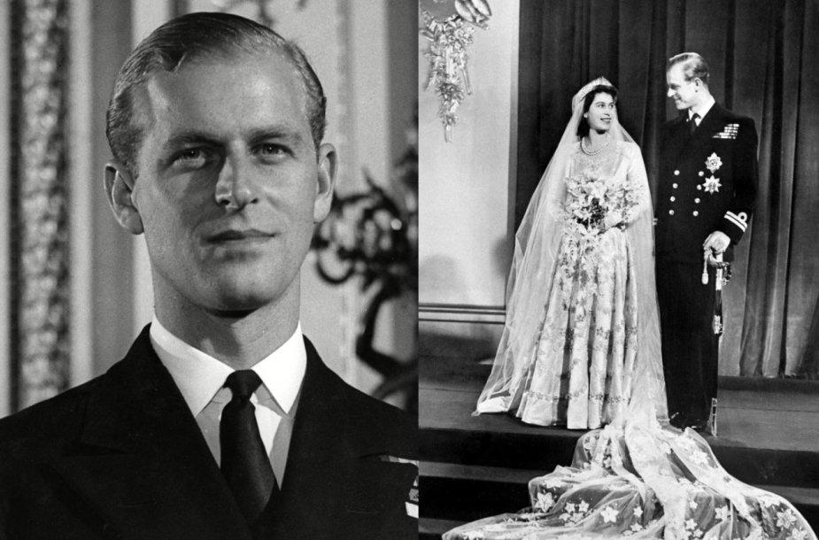 Princas Philipas jaunystėje (kairėje), Elizabeth II ir princo Philipo vestuvės (dešinėje)