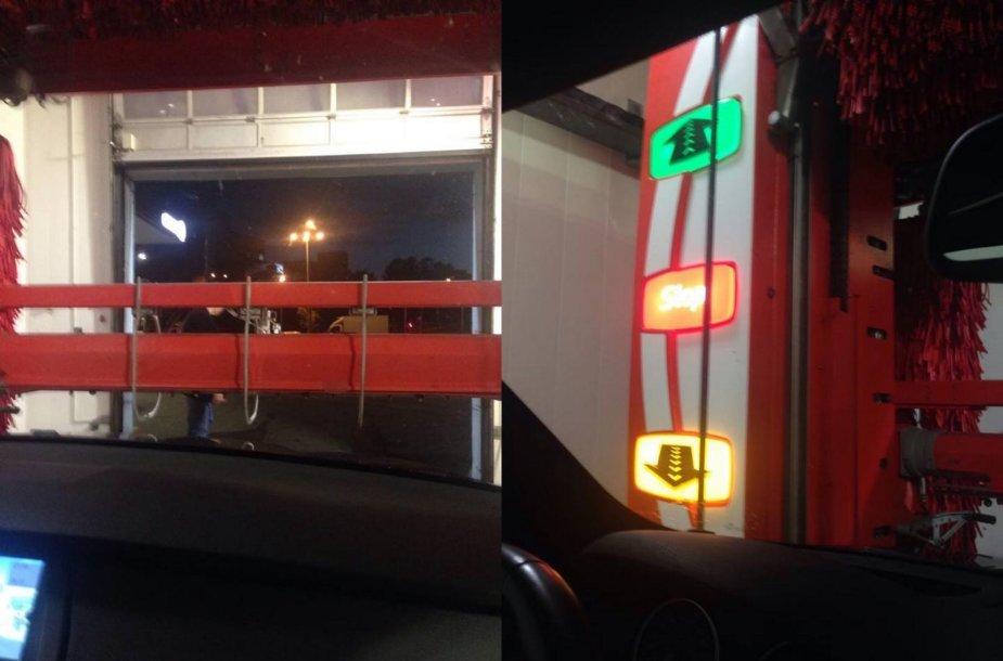 """BMW užstrigo Vilniaus """"Circle K"""" degalinės plovykloje"""
