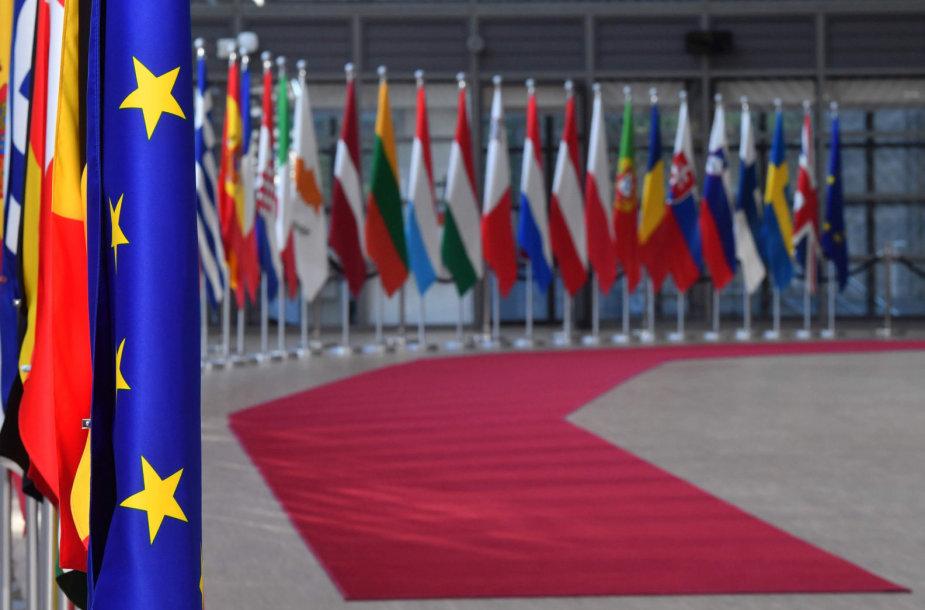 ES šalių narių vėliavos Briuselyje