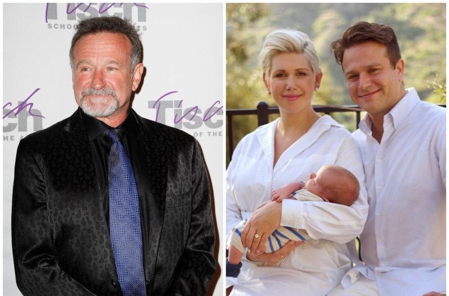 Robinas Williamsas ir sūnus Zakas su sužadėtine Olivia June