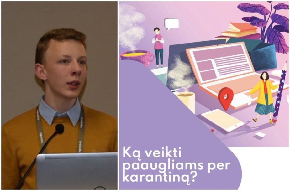 """Marius Mikelionis ir leidinio """"Ką veikti paaugliams per karantiną?"""" viršelis"""