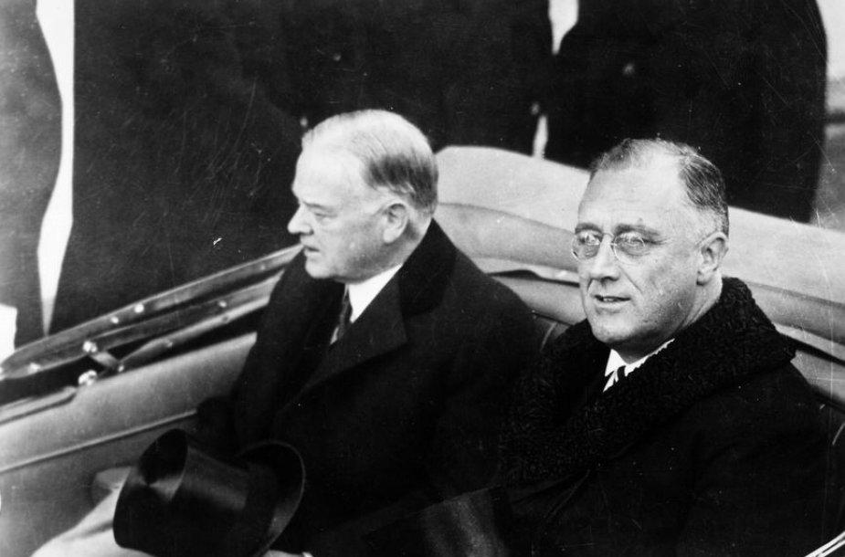 Franklinas D. Rooseveltas (dešinėje) inauguracijos į JAV Prezidentus metu