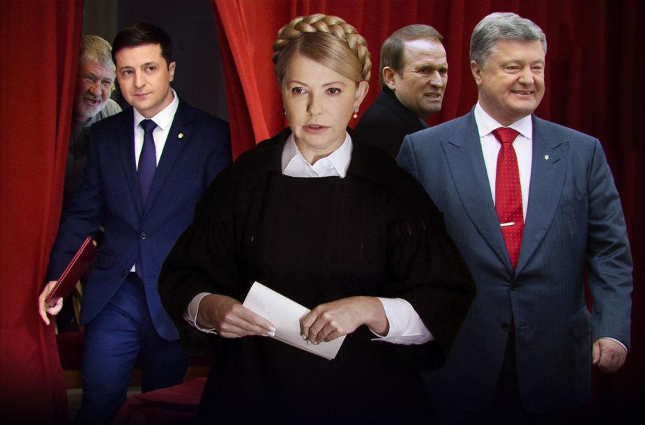 Ihoris Kolomoiskis, Volodymyras Zelenskis, Julija Tymošenko, Viktoras Medvedčiukas, Petro Porošenka