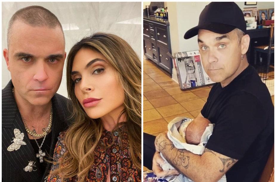 Robbie Williamsas su žmona Ayda Field ir sūnumi Beau