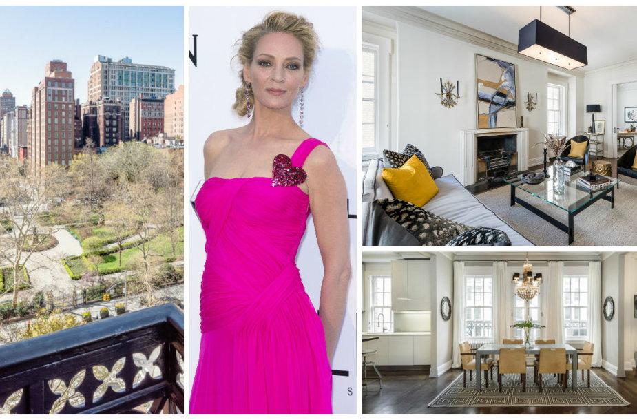 Uma Thurman už 6 mln. dolerių parduoda apartamentus Niujorke su privačiu parku