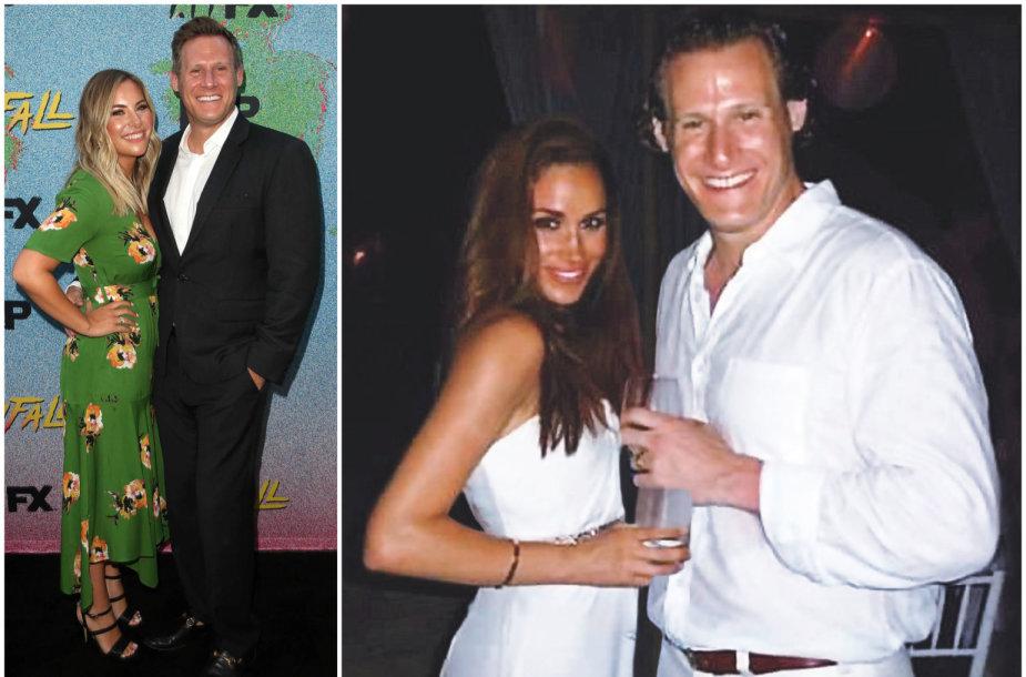 Trevoras Engelsonas su naująja žmona Tracey Kurland ir su Meghan Markle per jų vestuves Jamaikoje