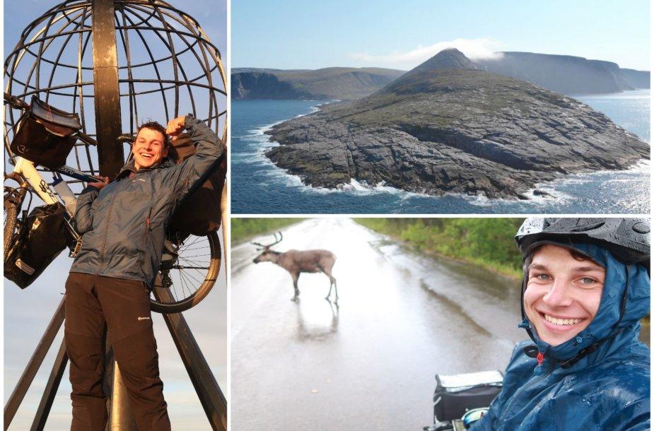Aurimas Valujavičius dviračiu numynė į šiauriausią Europos tašką