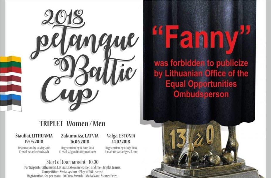 """Šiauliuose vyksiančio petankės turnyro """"2018 Petanque Baltic Cup"""" nauja plakato versija"""