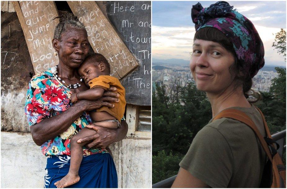 Vietos žmonių gyvenimas Siera Leonėje (kairėje) ir Jovita Sandaitė