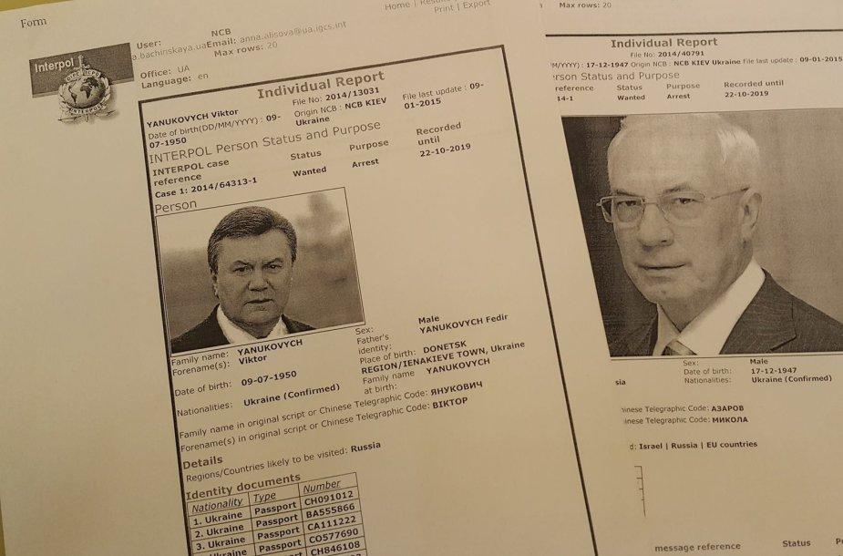 Interpolas paskelbė V.Janukovyčiaus ir M.Azarovo paieškas