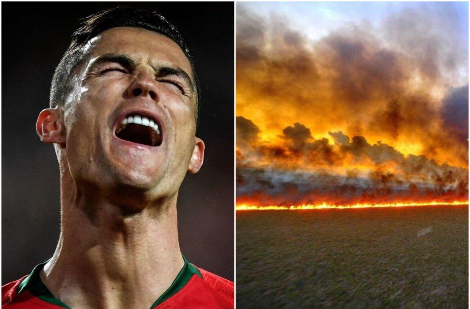 Cristiano Ronaldo atkreipė dėmesį į degančius Amazonės miškus, bet padarė pora klaidų.