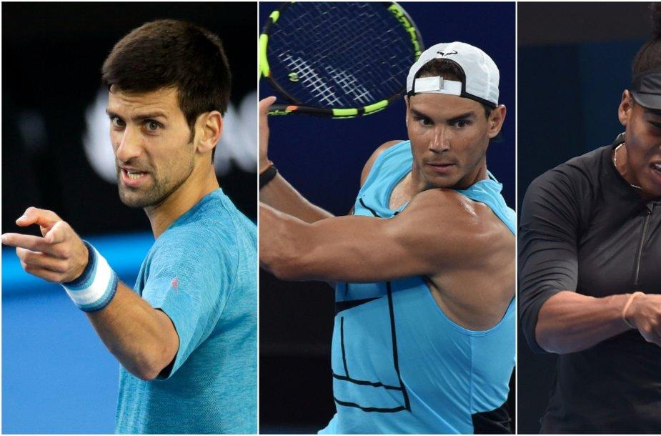 Novakas Džokovičius, Rafaelis Nadalis ir Serena Williams