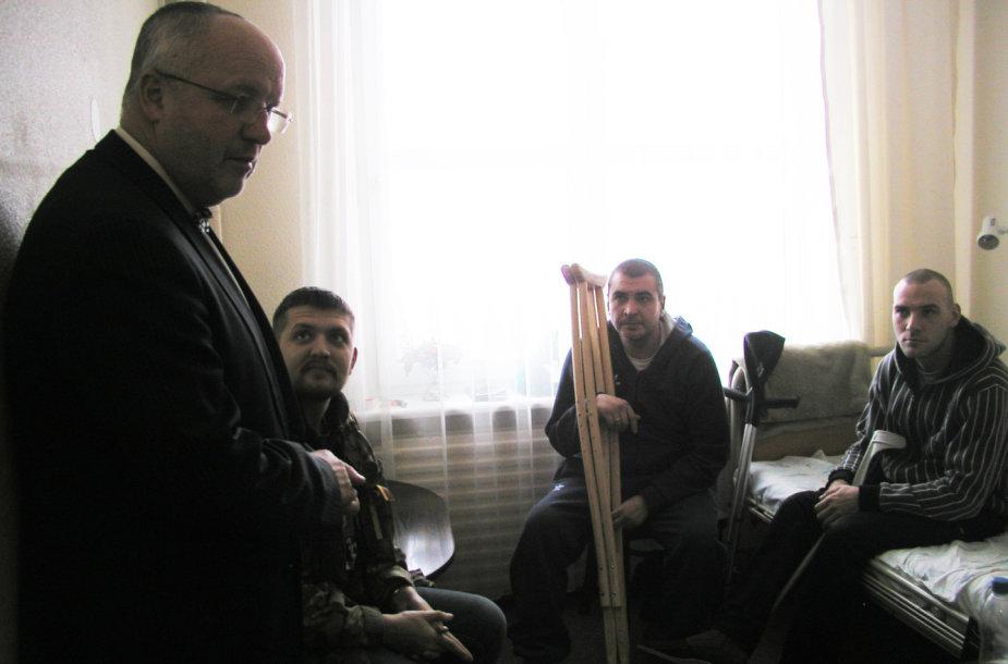Juozo Oleko susitikimas su Druskininkuose gydomais Ukrainos kariais.