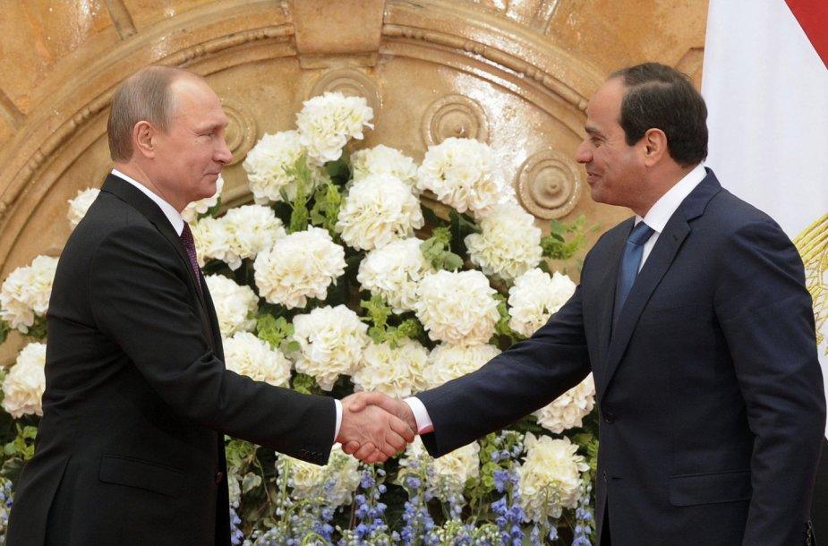 Egipto prezidentas Abdelis-Fattahas el-Sissi ir Vladimiras Putinas