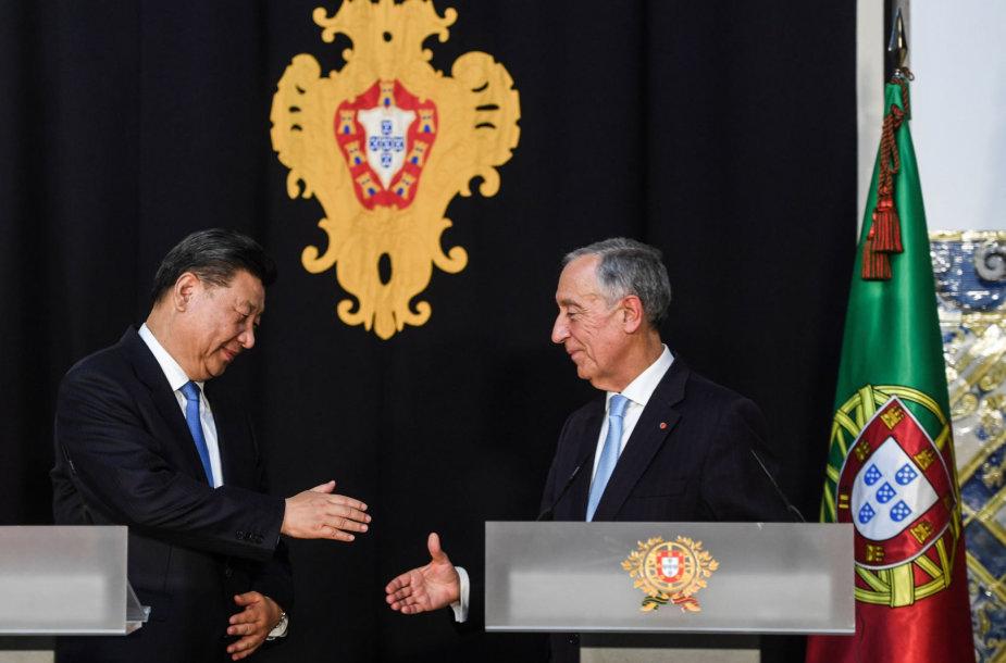 Kinijos ir Portugalijos prezidentai: Xi Jinpingas ir Marcelo Rebelo de Sousa