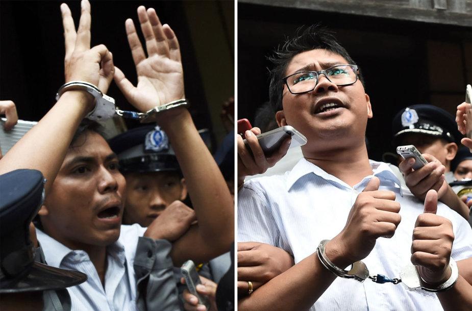 Įkalinti žurnalistai Kyawas Soe oo ir Wa Lone'as