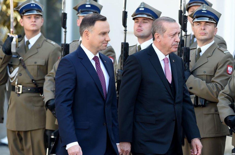 Andrzejus Duda ir Recepas Tayyipas Erdoganas Lenkijoje