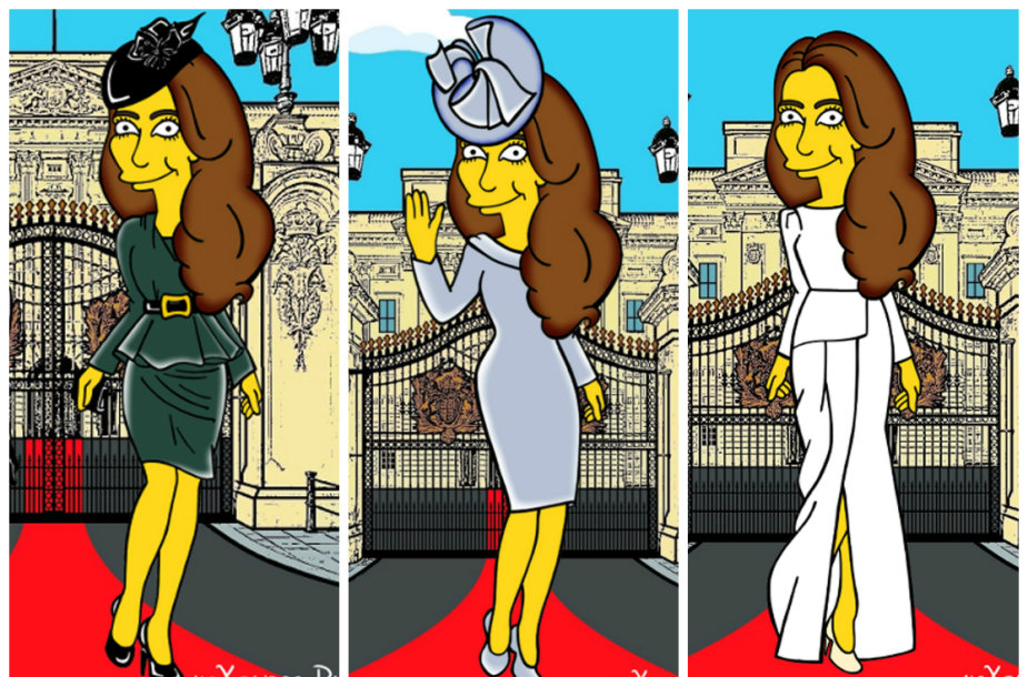 """Kembridžo hercogienė Catherine perkelta į """"Simpsonų"""" pasaulį"""