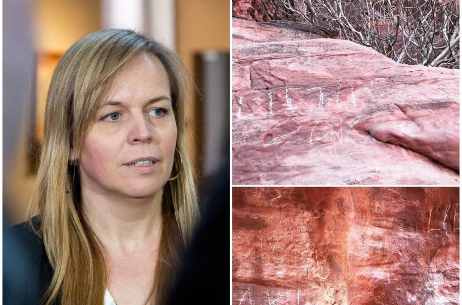 Milda Dargužaitė Jordanijoje rado lietuvių išraižytus užrašus ant uolų