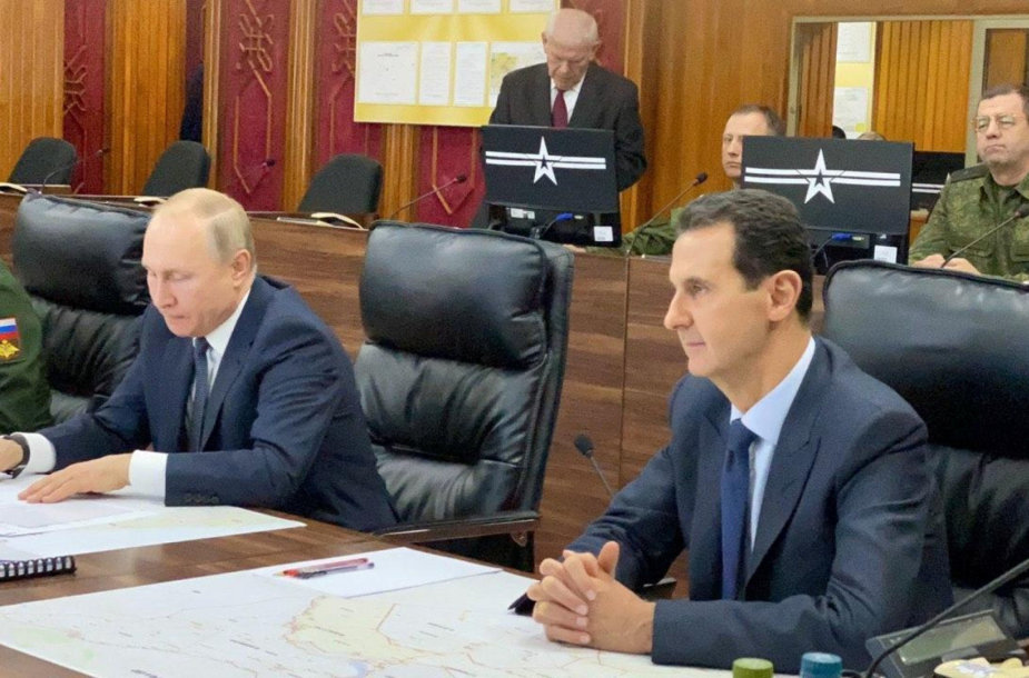 Vladimiras Putinas ir Basharas al Assadas Damaske