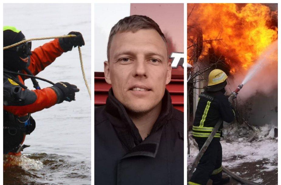 Ugniagesys V.Rasimavičius išgelbėjo moterį iš upės, tačiau nuo gaisro jos neapsaugojo niekas