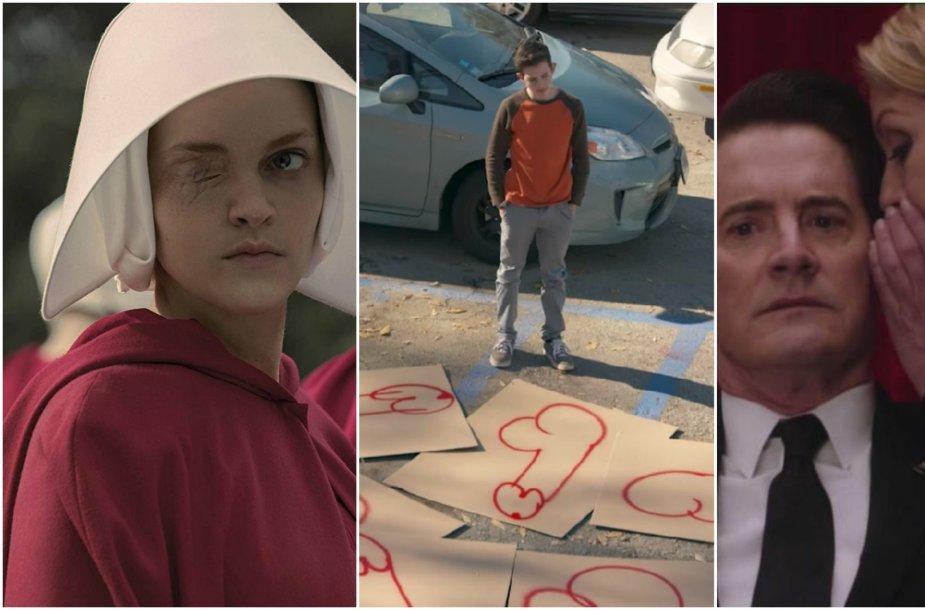 """Kadrai iš """"The Handmaid's Tale"""",  """"Twin Peaks"""" ir """"American Vandal"""" serialų"""