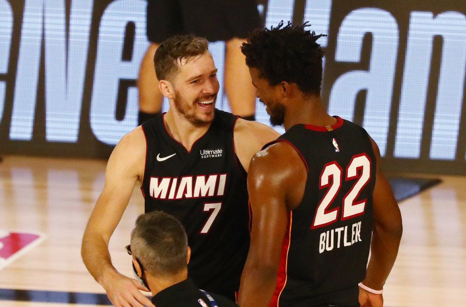 """Goranas Dragičius ir Jimmy Butleris veda """"Miami Heat"""" į pergales."""