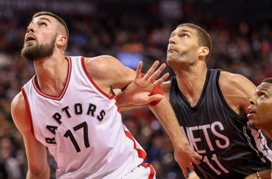 "NBA rungtynėse tarp ""Toronto Raptors"" ir ""Brooklyn Nets"" J.Valančiūnas pelnė 14 taškų."