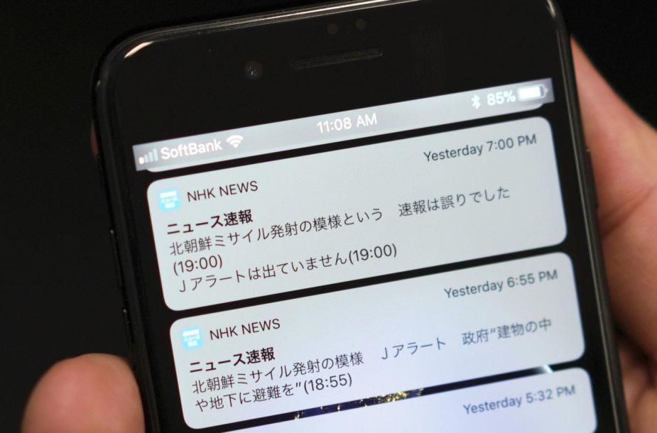 Japonus pasiekęs melagingas perspėjimas apie neva iš Šiaurės Korėjos paleistą raketą
