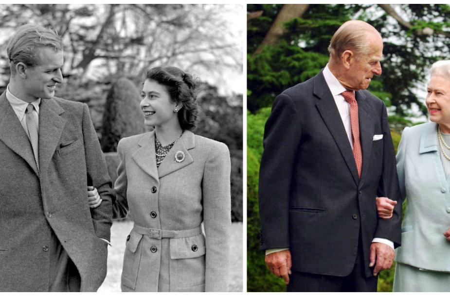 Karalienė Elizabeth II ir princas Philipas 1947 metais (kairėje) ir 2007 metais
