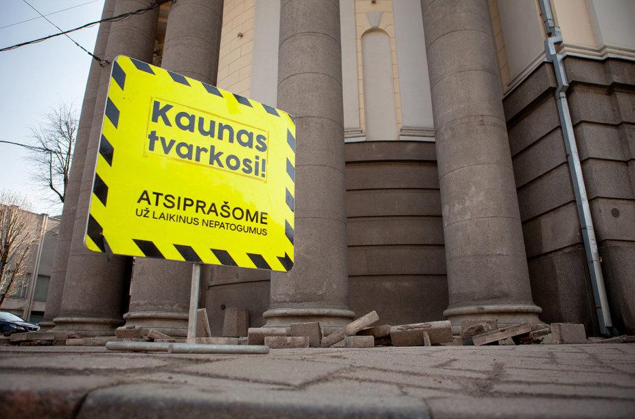 Kauno centre atliekami statybų darbai