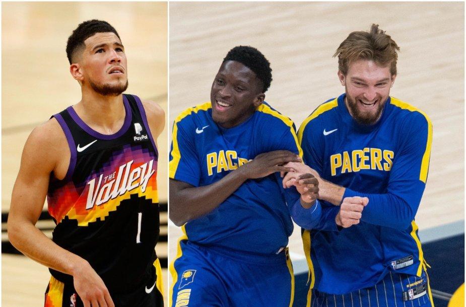"""Devinas Bookeris su """"Phoenix Suns"""", Domantas Sabonis su """"Indiana Pacers"""" solidžiai pradėjo NBA pirmenybes."""